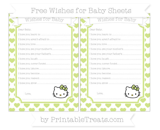 Free Pastel Lime Green Heart Pattern Hello Kitty Wishes for Baby Sheets