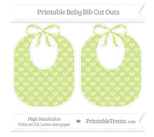 Free Pastel Lime Green Heart Pattern Large Baby Bib Cut Outs