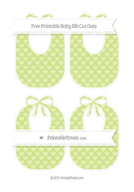 Free Pastel Lime Green Heart Pattern Medium Baby Bib Cut Outs