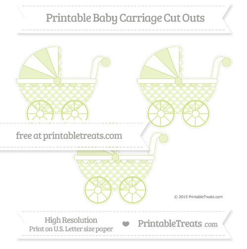 Free Pastel Lime Green Heart Pattern Medium Baby Carriage Cut Outs