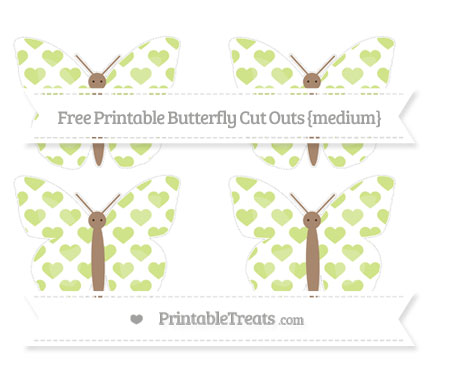 Free Pastel Lime Green Heart Pattern Medium Butterfly Cut Outs