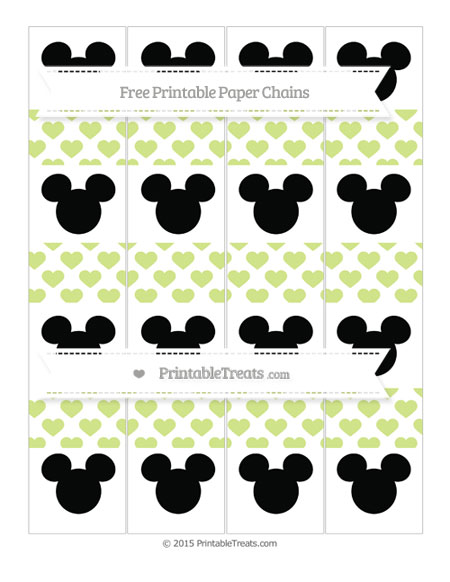 Free Pastel Lime Green Heart Pattern Mickey Mouse Paper Chains