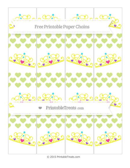 Free Pastel Lime Green Heart Pattern Princess Tiara Paper Chains