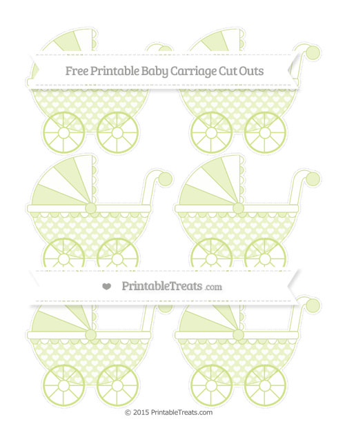 Free Pastel Lime Green Heart Pattern Small Baby Carriage Cut Outs