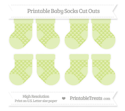 Free Pastel Lime Green Heart Pattern Small Baby Socks Cut Outs
