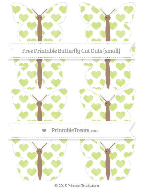 Free Pastel Lime Green Heart Pattern Small Butterfly Cut Outs