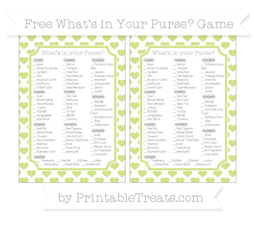 Free Pastel Lime Green Heart Pattern What's in Your Purse Baby Shower Game
