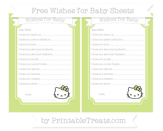 Free Pastel Lime Green Hello Kitty Wishes for Baby Sheets