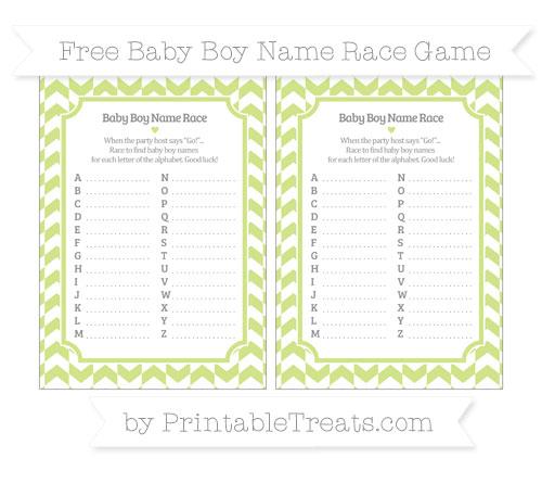 Free Pastel Lime Green Herringbone Pattern Baby Boy Name Race Game