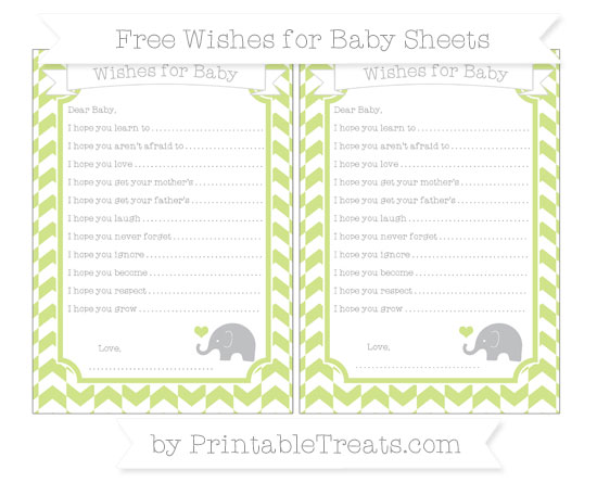 Free Pastel Lime Green Herringbone Pattern Baby Elephant Wishes for Baby Sheets