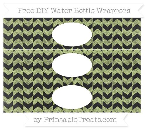 Free Pastel Lime Green Herringbone Pattern Chalk Style DIY Water Bottle Wrappers