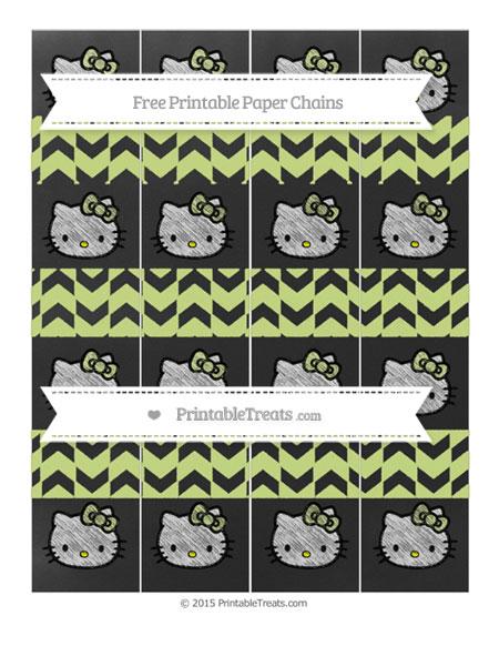 Free Pastel Lime Green Herringbone Pattern Chalk Style Hello Kitty Paper Chains