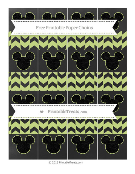 Free Pastel Lime Green Herringbone Pattern Chalk Style Mickey Mouse Paper Chains