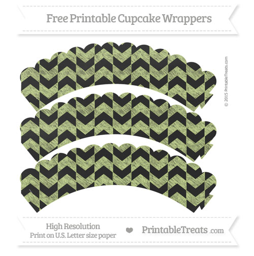 Free Pastel Lime Green Herringbone Pattern Chalk Style Scalloped Cupcake Wrappers