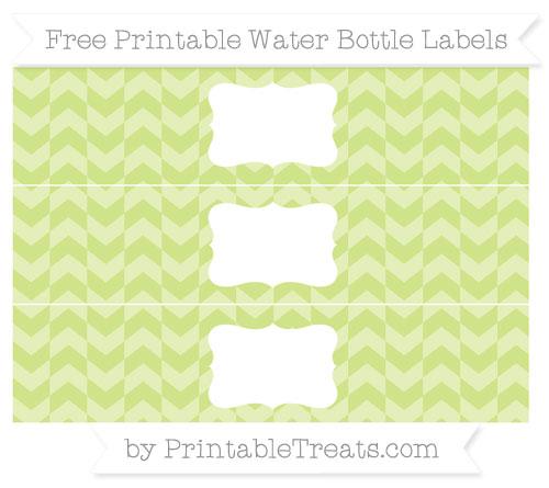 Free Pastel Lime Green Herringbone Pattern Water Bottle Labels