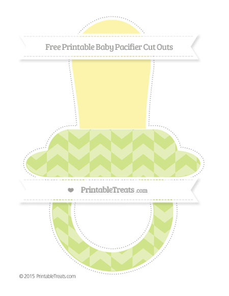 Free Pastel Lime Green Herringbone Pattern Extra Large Baby Pacifier Cut Outs
