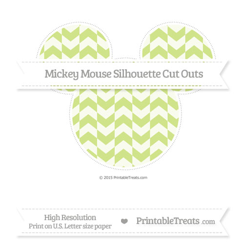 Free Pastel Lime Green Herringbone Pattern Extra Large Mickey Mouse Silhouette Cut Outs