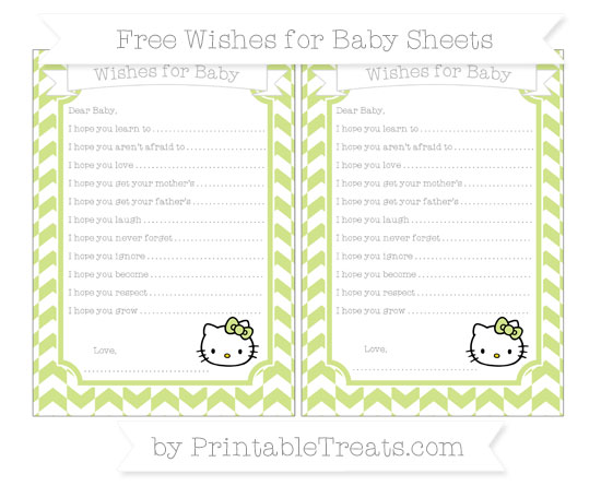 Free Pastel Lime Green Herringbone Pattern Hello Kitty Wishes for Baby Sheets