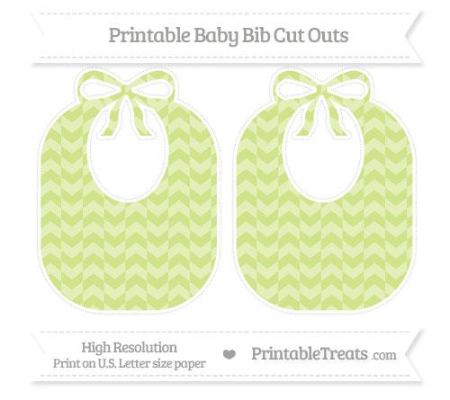 Free Pastel Lime Green Herringbone Pattern Large Baby Bib Cut Outs