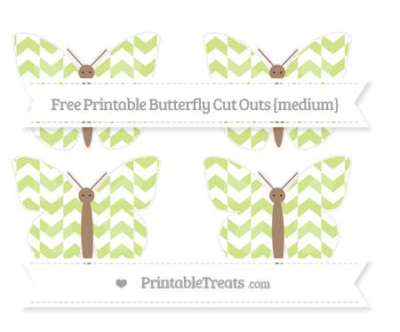 Free Pastel Lime Green Herringbone Pattern Medium Butterfly Cut Outs