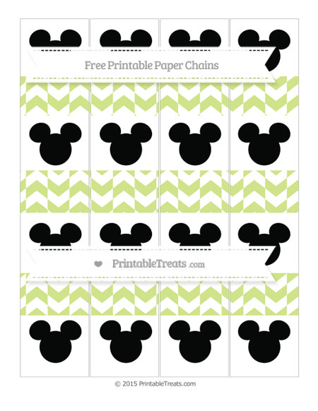 Free Pastel Lime Green Herringbone Pattern Mickey Mouse Paper Chains