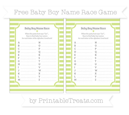 Free Pastel Lime Green Horizontal Striped Baby Boy Name Race Game