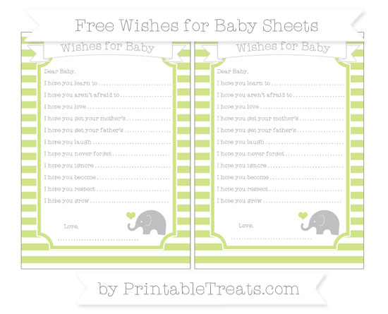 Free Pastel Lime Green Horizontal Striped Baby Elephant Wishes for Baby Sheets