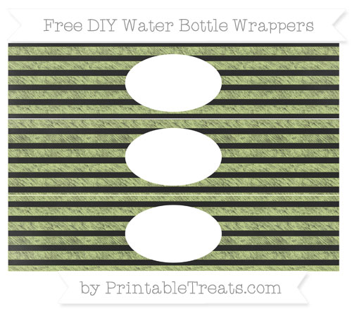 Free Pastel Lime Green Horizontal Striped Chalk Style DIY Water Bottle Wrappers