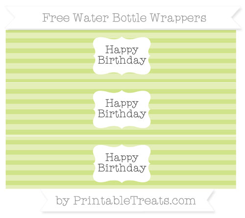 Free Pastel Lime Green Horizontal Striped Happy Birhtday Water Bottle Wrappers