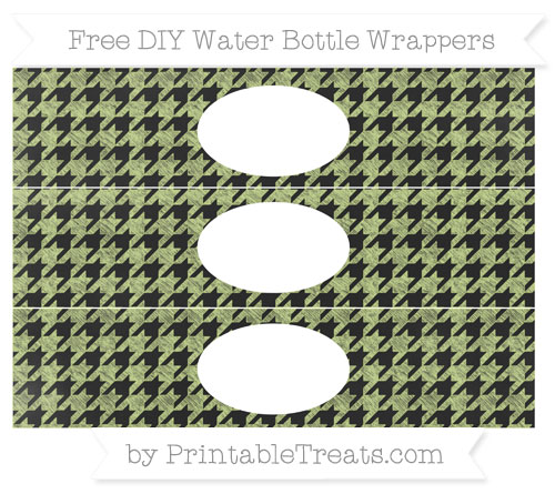 Free Pastel Lime Green Houndstooth Pattern Chalk Style DIY Water Bottle Wrappers