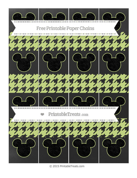 Free Pastel Lime Green Houndstooth Pattern Chalk Style Mickey Mouse Paper Chains