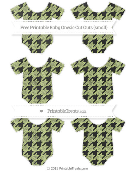 Free Pastel Lime Green Houndstooth Pattern Chalk Style Small Baby Onesie Cut Outs