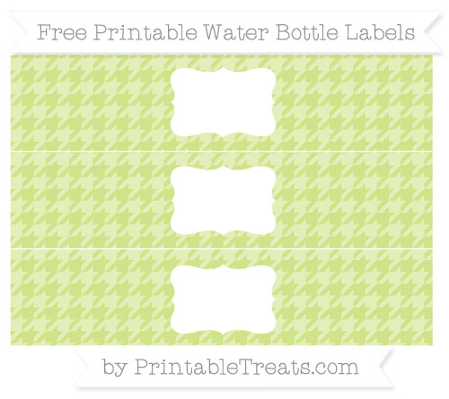Free Pastel Lime Green Houndstooth Pattern Water Bottle Labels