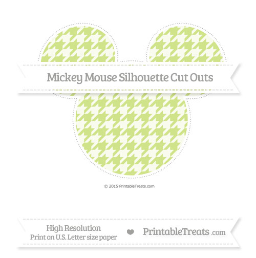 Free Pastel Lime Green Houndstooth Pattern Extra Large Mickey Mouse Silhouette Cut Outs