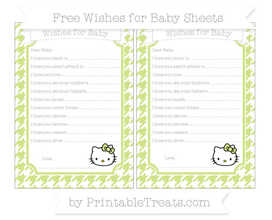 Free Pastel Lime Green Houndstooth Pattern Hello Kitty Wishes for Baby Sheets