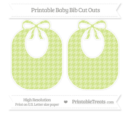 Free Pastel Lime Green Houndstooth Pattern Large Baby Bib Cut Outs