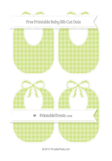 Free Pastel Lime Green Houndstooth Pattern Medium Baby Bib Cut Outs