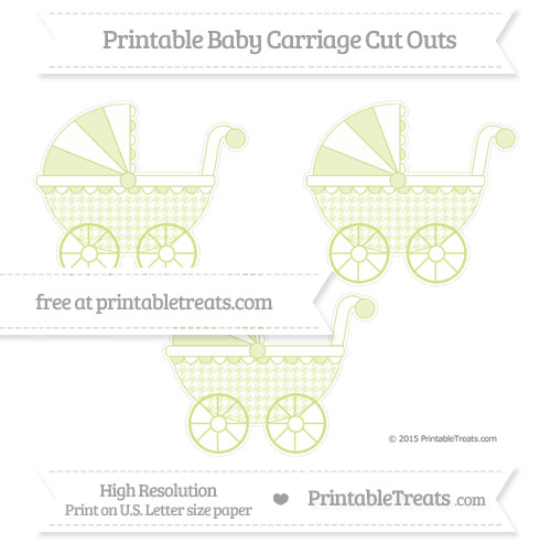 Free Pastel Lime Green Houndstooth Pattern Medium Baby Carriage Cut Outs
