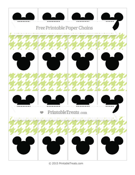 Free Pastel Lime Green Houndstooth Pattern Mickey Mouse Paper Chains