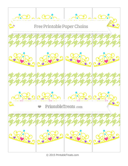 Free Pastel Lime Green Houndstooth Pattern Princess Tiara Paper Chains