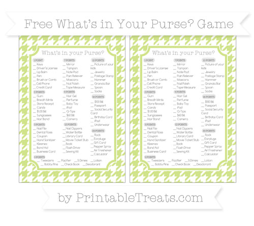 Free Pastel Lime Green Houndstooth Pattern What's in Your Purse Baby Shower Game