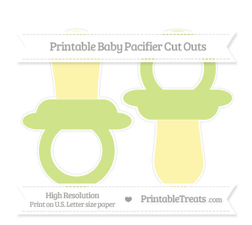 Free Pastel Lime Green Large Baby Pacifier Cut Outs