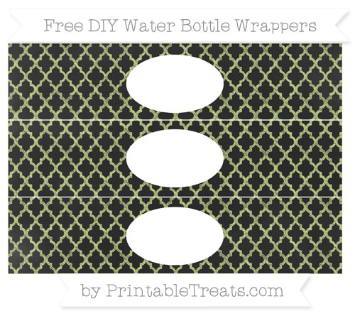 Free Pastel Lime Green Moroccan Tile Chalk Style DIY Water Bottle Wrappers