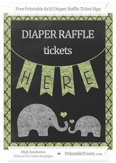 Free Pastel Lime Green Moroccan Tile Chalk Style Elephant 8x10 Diaper Raffle Ticket Sign