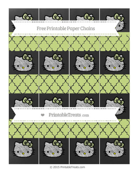 Free Pastel Lime Green Moroccan Tile Chalk Style Hello Kitty Paper Chains