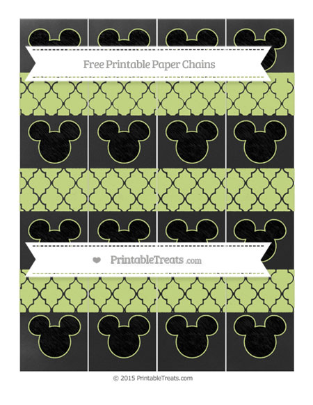 Free Pastel Lime Green Moroccan Tile Chalk Style Mickey Mouse Paper Chains