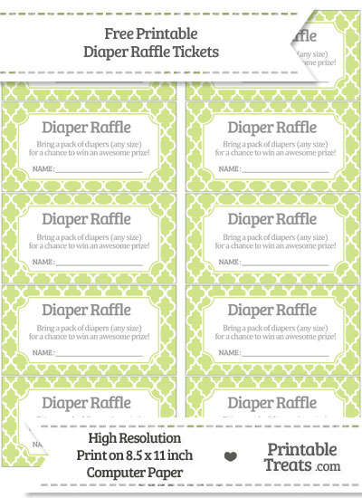 Free Pastel Lime Green Moroccan Tile Diaper Raffle Tickets