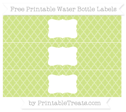 Free Pastel Lime Green Moroccan Tile Water Bottle Labels