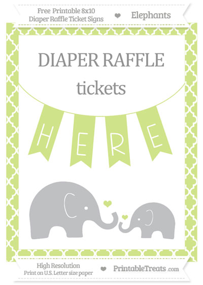 Free Pastel Lime Green Moroccan Tile Elephant 8x10 Diaper Raffle Ticket Sign