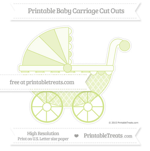 Free Pastel Lime Green Moroccan Tile Extra Large Baby Carriage Cut Outs
